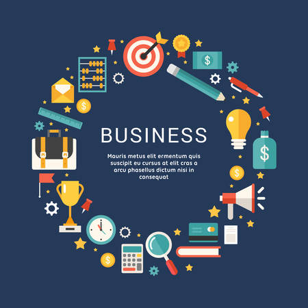 Business Icons und Objekte in der Form des Kreises. Vektor-Illustration in Flat Design Style mit Platz für Text Standard-Bild - 51140027