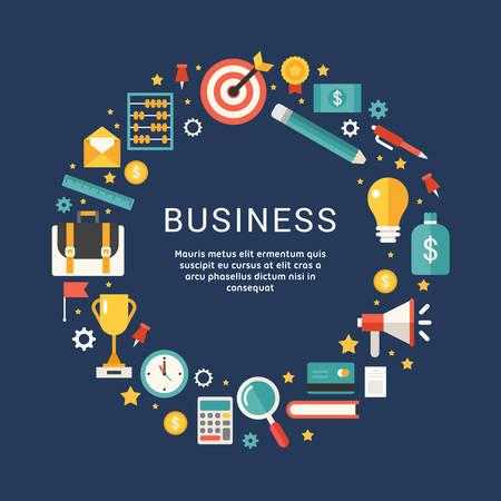 Símbolos de negocios y objetos en forma de círculo. Ilustración del vector en estilo del diseño plano con lugar para texto