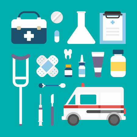 medical supplies: Set of Vector Flat Style Medical Icons and Objects. Ambulance, Suitcase, Patch, Scalpel, Spray, Tooth, Pills, Medical Supplies