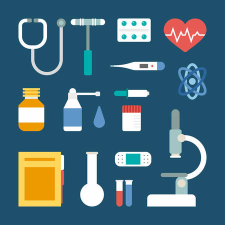 medical supplies: Set of Vector Flat Style Medical Icons and Objects. Stethoscope, Medical Supplies, Microscope, Thermometer, Pills, Patch, Spray, Heart Illustration