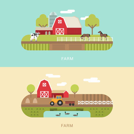 farmhouses: Vector Flat Style Illustration of Farm Landscape with Farmhouses, Pond and Fields Illustration