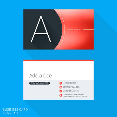personal identification number: Creative Business Card Template. Letter A. Flat Design Vector Illustration. Stationery Design Illustration