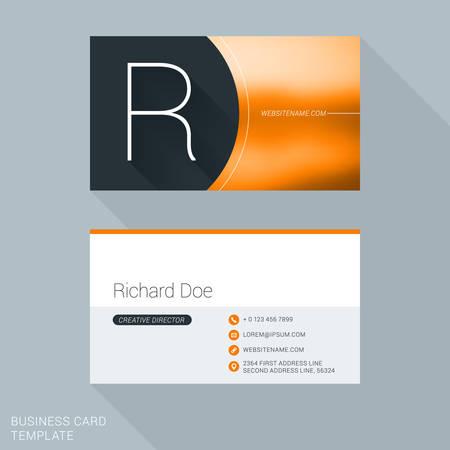 personal identification number: Creative Business Card Template. Letter R. Flat Design Vector Illustration. Stationery Design Illustration