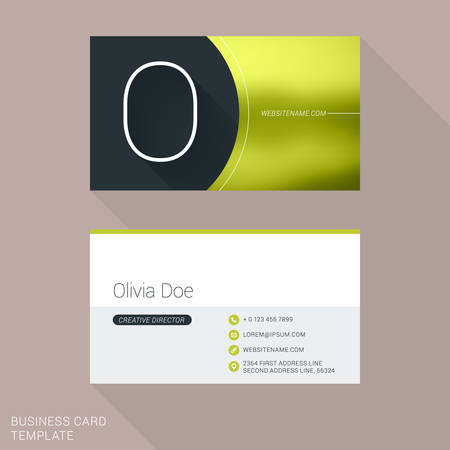 Creative Business Card Template. Letter O. Flat Design Vector Illustration. Stationery Design
