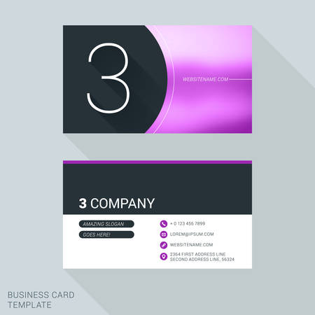 personal identification number: Creative Business Card Template. Number Three. Flat Design Vector Illustration. Stationery Design