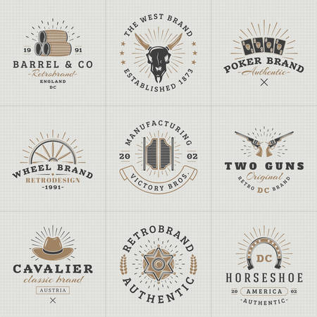 Set of Hipster Vintage Labels, Logotypes, Badges for Your Business. Wild West Theme. Barrel, Scull, Cards, Wheel, Saloon, Gun, Hat, Sheriff. Vector Illustration Illustration