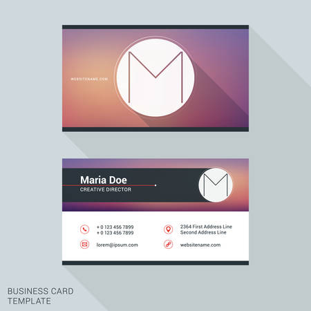 personal identification number: Creative and Clean Business Card or Name Badge Template. Logotype Letter M. Flat Design Vector Illustration. Stationery Design