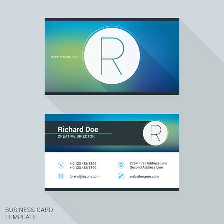 identity card: Creative and Clean Business Card or Name Badge Template. Logotype Letter R. Flat Design Vector Illustration. Stationery Design