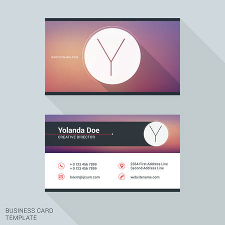 personal identification number: Creative and Clean Business Card or Name Badge Template. Logotype Letter Y. Flat Design Vector Illustration. Stationery Design Illustration