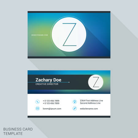 personal identification number: Creative and Clean Business Card or Name Badge Template. Logotype Letter Z. Flat Design Vector Illustration. Stationery Design