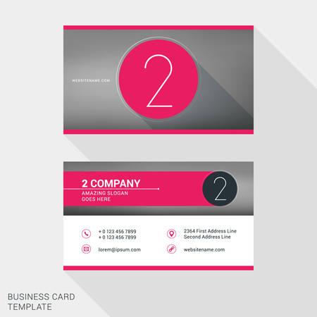 name badge: Creative and Clean Business Card or Name Badge Template.  Number 2. Flat Design Vector Illustration. Stationery Design Illustration
