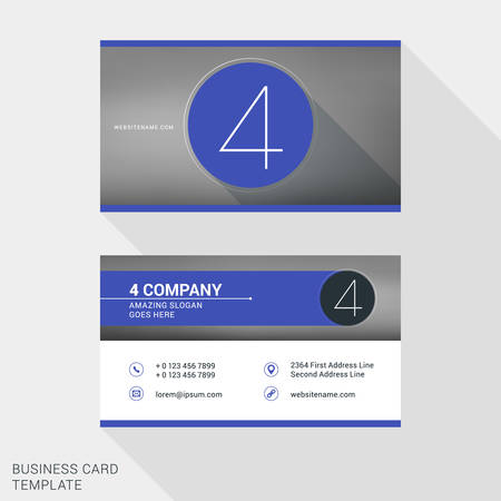 name badge: Creative and Clean Business Card or Name Badge Template.  Number 4. Flat Design Vector Illustration. Stationery Design