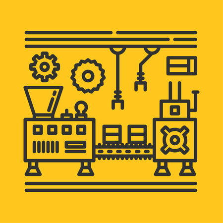 Line Art Vector Illustration For Abstract Factory Processing. Design Elements for Website