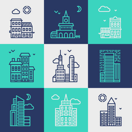 urban planning: Set of Flat Style Line Art Vector Illustrations for Modern Buildings and Skyscrapers