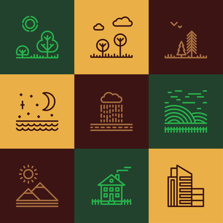 Set of Flat Style Line Art Vector Illustrations for Different Landscapes, Town, Village, Nature, Mountains, Trees
