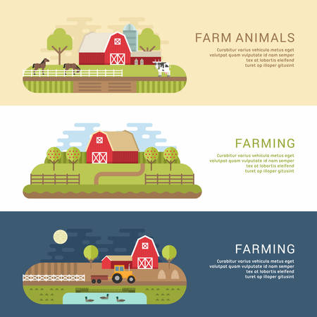 farmhouses: Set of Vector Flat Style Illustrations of Farm Landscape with Farmhouses and Fields. Web Banner Template
