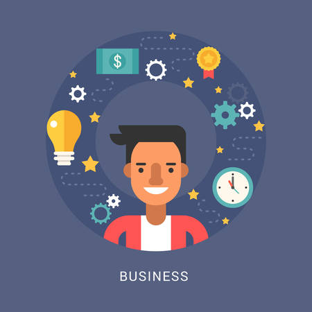 sertificate: Business Icons and Objects in the Shape of Circle. Businessman Cartoon Character. Vector Illustration in Flat Design Style