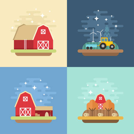 country life: Set of Vector Flat Style Illustrations of Country Life