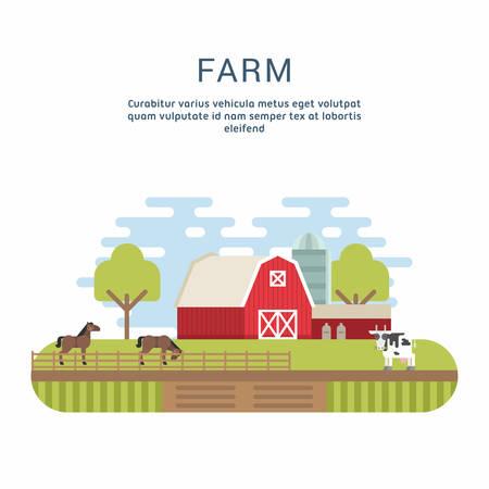 farmhouses: Vector Flat Style Illustration of Farm Landscape with Farmhouses and Fields