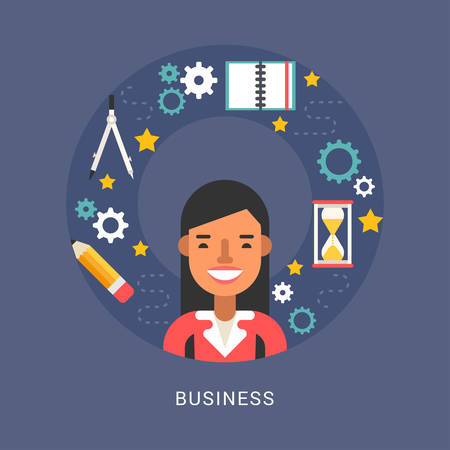 Business Icons and Objects in the Shape of Circle. Businesswoman Cartoon Character. Vector Illustration in Flat Design Style Ilustração
