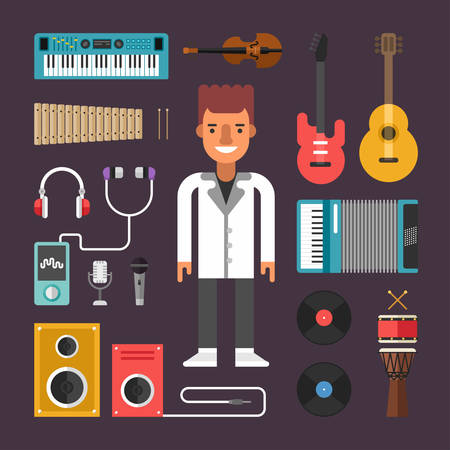 pop singer: Set of Vector Icons and Illustrations in Flat Design Style. Profession Musician. Male Cartoon Character Surrounded by Musical Instruments