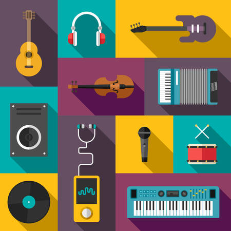 keyboard player: Set of Vector Flat Style Musical Icons with Long Shadow. Guitar, Headphones, Violin, Player, Speaker, Keyboard, Drums, Vinil