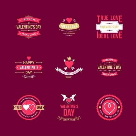animal logo: Set Of Vintage Happy Valentines Day Badges or Labels. Typography Design Elements for Greeting Cards