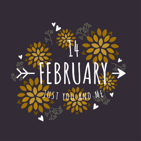 14 of february: Decorative Floral Frame with Text - 14 February  - on Black Background. Vector Design Element for Valentines Day Greeting Card Illustration