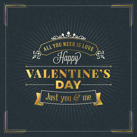 gold silhouette: Happy Valentines Day Vintage Retro Golden Badge. Valentines Day Greeting Card or Poster. Vector Design Template with Dark Background
