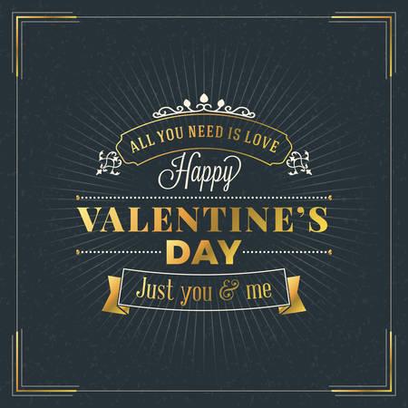 letras de oro: Insignia de oro retro del día de San Valentín feliz. Día de San Valentín tarjeta de felicitación o un cartel. Del diseño del vector con el fondo oscuro Vectores