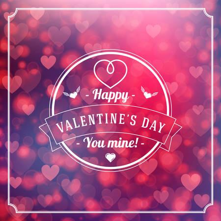 saint valentin coeur: Bonne Saint Valentin Retro Badge typographes. Carte Saint Valentin. Valentine Affiche. Vector Illustration. Mod�le de conception sur fond Satur�s R�sum� avec des coeurs