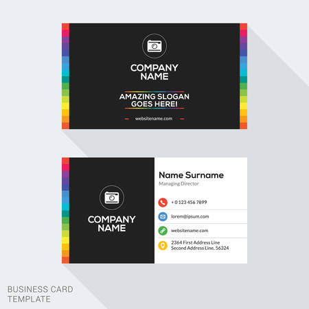 Creative Business Card Vector Template. Flat Design Vector Illustration. Stationery Design