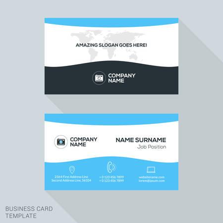 Creative Business Card Vector Template. Flat Design Vector Illustration. Stationery Design