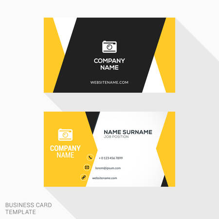 material: Creative Business Card Vector Template. Flat Design Vector Illustration. Stationery Design