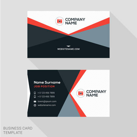 visit: Creative Business Card Vector Template. Flat Design Vector Illustration. Stationery Design