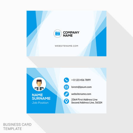 Creative Business Card Vector Template. Flat Design Vector Illustration. Stationery Design Фото со стока - 51822443