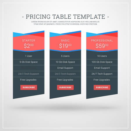 featured: Vector Design Template for Pricing Table for Websites and Applications. Flat Design Vector Illustration