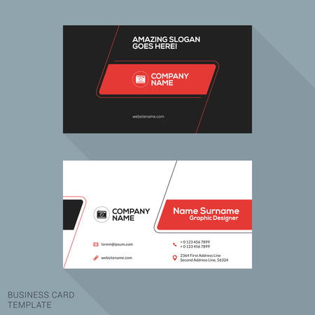 visit card: Creative Business Card Vector Template. Flat Design Vector Illustration. Stationery Design