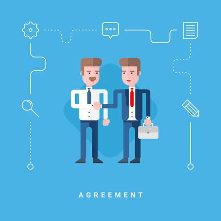 conclude: Flat Style Vector Conceptual Illustration. Two Businessmen Conclude Agreement Illustration