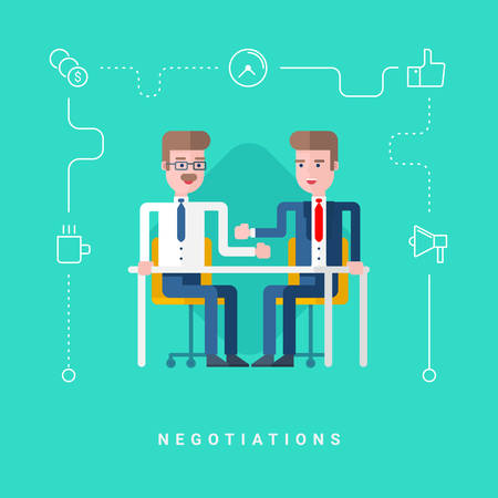 negotiate: Flat Style Vector Conceptual Illustration. Two Businessmen Negotiate