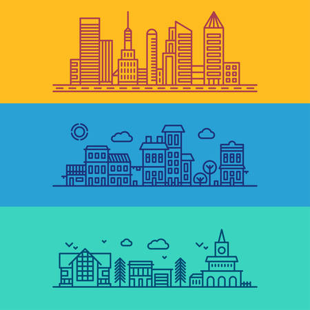 cartoon bank: Set of Flat Style Line Art Vector Illustrations for Modern Buildings and Skyscrapers