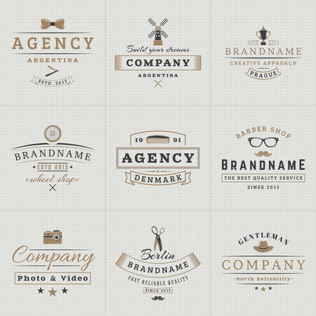 windmill: Set of Hipster Vintage Labels, Logotypes, Badges for Your Business. Bow-tie, Windmill, Barber, Camera, Scissors, Hat. Vector Illustration