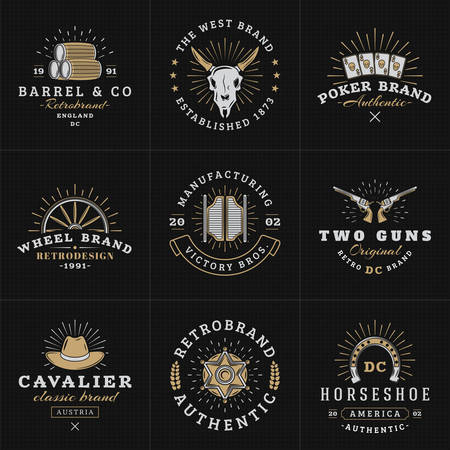 old west: Set of Hipster Vintage Labels, Logotypes, Badges for Your Business. Wild West Theme. Barrel, Scull, Cards, Wheel, Saloon, Gun, Hat, Sheriff. Vector Illustration on Dark Textured Background