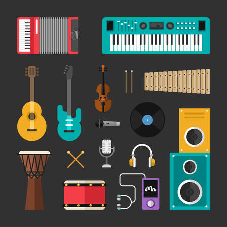 keyboard player: Set of Vector Flat Style Musical Instruments and Music Tools Icons. Guitar, Drums, Speaker, Headphones, Keyboard, Violin, Vynil, Microphone, Player