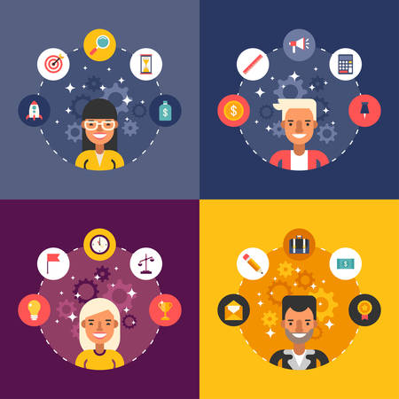 Set of Vector Illustrations in Flat Design Style. Business Icons and Objects in the Shape of Circle. Businessman Cartoon Characters