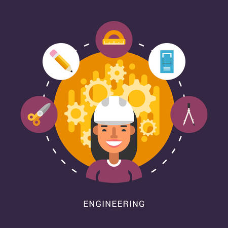 construction icon: Building Icons and Objects in the Shape of Circle. Engineer Female Cartoon Character. Vector Illustration in Flat Design Style