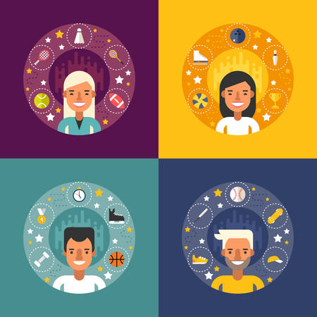 sportsman: Set of Vector Illustrations in Flat Design Style. Sport Icons and Objects in the Shape of Circle. Sportsman Cartoon Characters