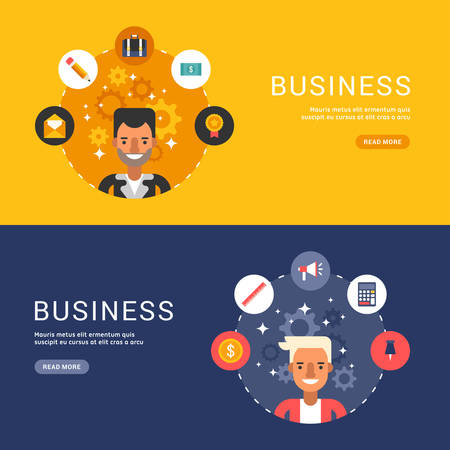 sertificate: Flat Design Concept for Web Banners. Business Icons and Objects in the Shape of Circle. Male Businessman Cartoon Characters. Vector Illustration in Flat Design Style