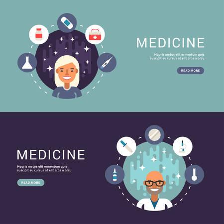 caricatura enfermera: Concepto de diseño Piso en Web pancartas. Iconos de médicos y objetos en forma de círculo. Masculina y femenina médico o enfermera personajes de dibujos animados. Ilustración del vector en estilo del diseño Flat