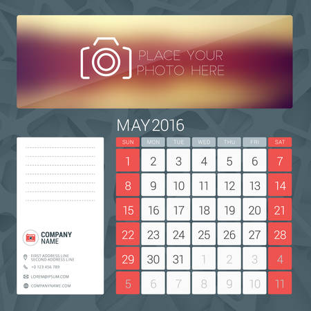 contact information: Desk Calendar for 2016 Year. May. Vector Stationery Design Template with Place for Photo, Company Logo and Contact Information. Week Starts Sunday